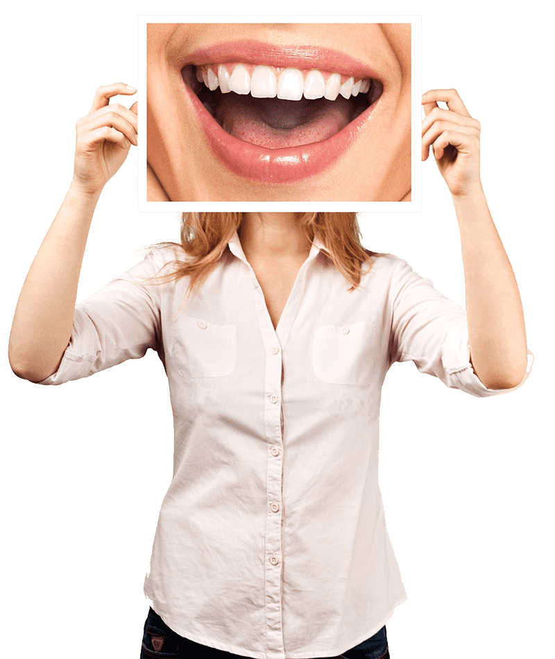 woman holding up image of white teeth open-mouthed smile